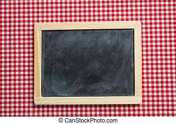 checkered, ピクニック, スペース, 木製である, 黒板, フレーム, テーブルクロス, コピー, 赤