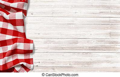 checkered, ピクニック, 木, テーブル, テーブルクロス, 白い赤