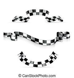 checkered, リボン