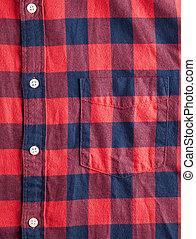 checkered, ワイシャツ, 手ざわり, フランネル