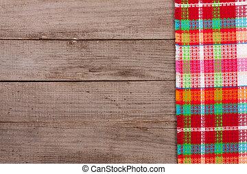 checkered, 古い, スペース, 木製のこま, text., テーブル, テーブルクロス, コピー, あなたの, 赤, 光景