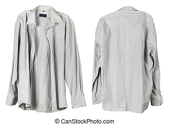 checkered, 古い, ワイシャツ, hanger., 掛かる, 祖父, 白, 私