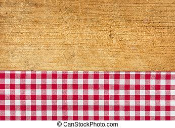 checkered, 木製である, 無作法, 背景, テーブルクロス, 赤