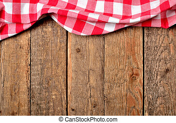 checkered, 背景, 木製である, 型, 上, -, の上, テーブル, テーブルクロス, フレーム, 赤, 光景