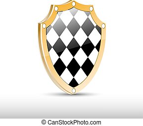 Checkered 3d shield with golden frame.