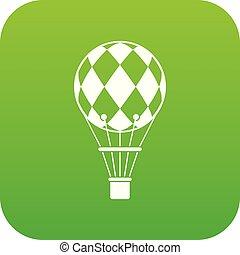 Checkered air balloon icon digital green