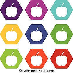 Checkered apple icon set color hexahedron