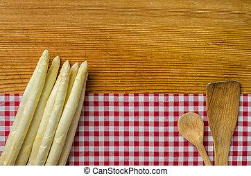 checkered, asparago, legno, fondo, bianco, tovaglia