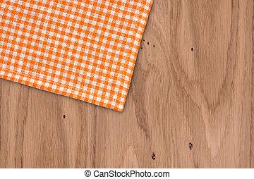 checkered, assi, legno, rustico, arancia, tovaglia