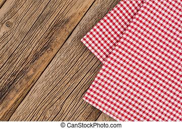 checkered, assi, legno, rustico, tablecloth., rosso