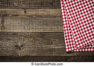 checkered, assi, legno, rustico, tovaglia, rosso