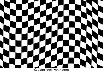 Hi contrast wavy checkerboard pattern in cloth. Underlying thread base obliterated leaving purely b&w pattern.