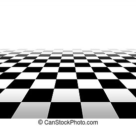 Checkered background floor pattern in perspective with a black and white geometric design fading to white in the distance with a blank area for your text.
