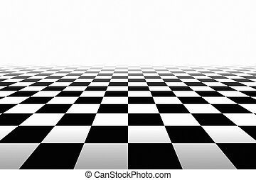 Checkered Background In Perspective. Squares - black and...