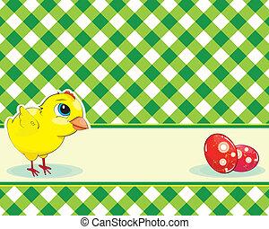 checkered background with chicken