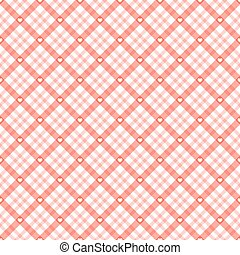 checkered background with hearts