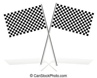checkered, bandiere, bianco, attraversato, uggia, da corsa
