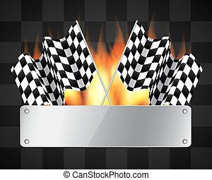 checkered, bandiere, fondo