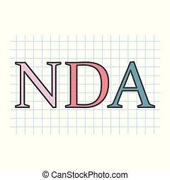 checkered, blad, nda, agreement), acroniem, geschreven, papier, (non-disclosure