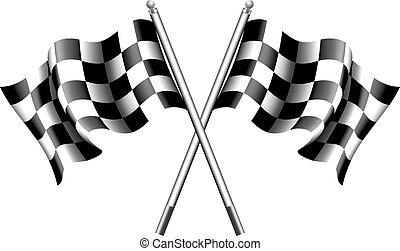 checkered, chequered, 旗, モーター