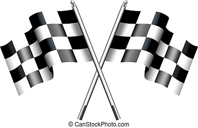 Checkered, Chequered Flags Motor Ra - Two black and white...