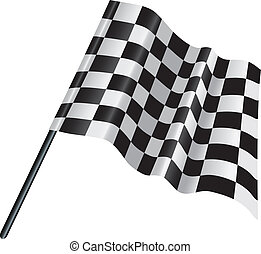 checkered, chequered motor racing flag - illustration of a...