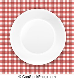 Checkered Cloth And White Plate