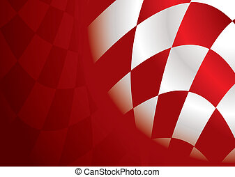 checkered corner red - Red and white checkered flag...