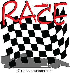 checkered, correndo, ilustração