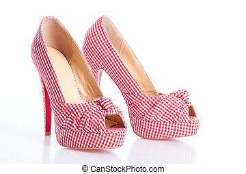 checkered court shoes on the white