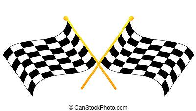 checkered, cruzado, dois, waving, bandeiras, pretas