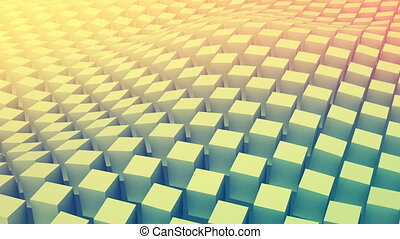 Checkered cubes surface waving. Seamless loop 3D animation