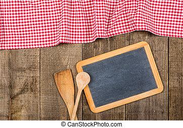 checkered, cucchiai legno, lavagna, tovaglia, rosso