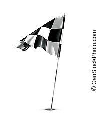 checkered, drapeau golf, vecteur