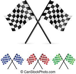 checkered, drapeaux