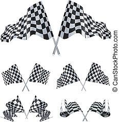 checkered, drapeaux, ensemble