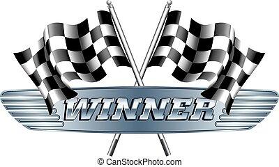 checkered, Drapeaux, gagnant,  m,  chequered