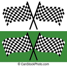 checkered, editable, ondeggiare, vettore, attraversato, flags., da corsa
