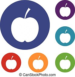 checkered, ensemble, pomme, icônes