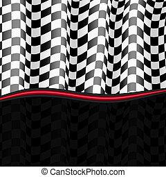 checkered, eps10, flag., achtergrond., vector, het snelen