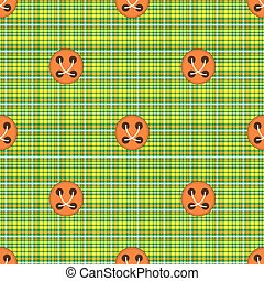 Checkered fabric green with orange buttons