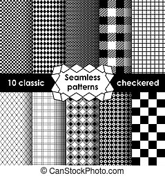 Checkered fabric seamless pattern black and white