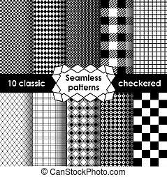 Checkered fabric seamless pattern black and white