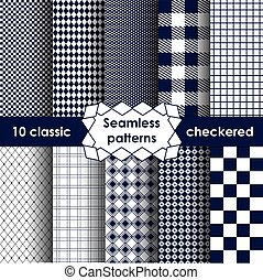 Checkered fabric seamless pattern blue and white
