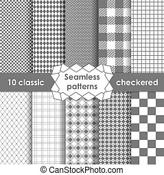 Checkered fabric seamless pattern grey and white