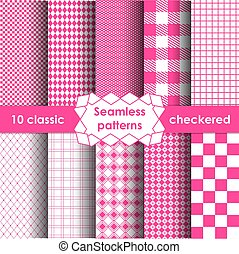 Checkered fabric seamless pattern pink and white