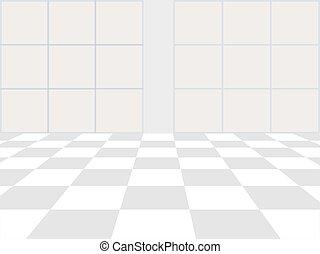 checkered, finestra, pavimento, vettore, fondo., prospettiva, bianco