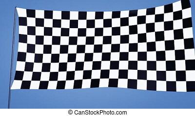 checkered flag A blue sky