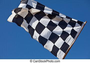 Checkered Flag and blue sky