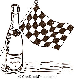 Checkered flag and champagne drawing